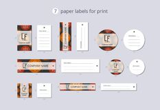 Vector paper clothing labels for print with pattern orange and red Christmas ball Royalty Free Stock Photos