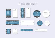 Vector paper clothing labels for print with pattern ornamental present box Royalty Free Stock Photos