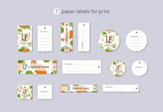 Vector paper clothing labels for print with pattern papaya and flower. On blue field Stock Images