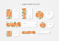 Vector paper clothing labels for print with pattern pears and flowers Royalty Free Stock Photos