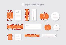 Vector paper clothing labels for print with pattern pepper chili in origami style Royalty Free Stock Photos