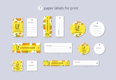 Vector paper clothing labels for print with pattern persimmon and flower Royalty Free Stock Photos