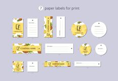Vector paper clothing labels for print with pattern pineapple and leaves Stock Photography