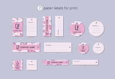 Vector paper clothing labels for print with pattern pink butterfly Royalty Free Stock Image