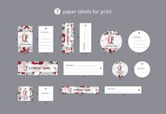 Vector paper clothing labels for print with pattern presents and ribbons Stock Images