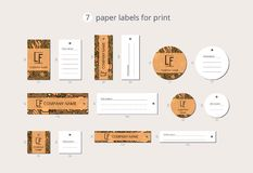 Vector paper clothing labels for print with pattern pumpkins and leaves Stock Photography