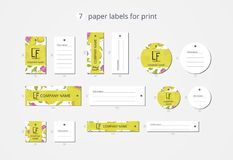 Vector paper clothing labels for print with pattern quince and flower Royalty Free Stock Images