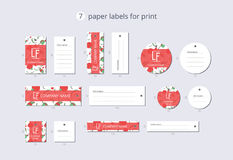 Vector paper clothing labels for print with pattern red poppy Stock Image
