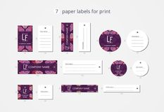 Vector paper clothing labels for print with pattern romantic flowers Royalty Free Stock Photography