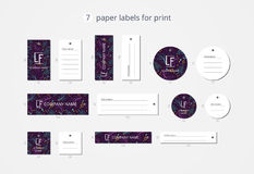 Vector paper clothing labels for print with pattern violet water Royalty Free Stock Photos