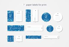 Vector paper clothing labels for print with pattern winter sky Stock Photography