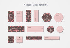 Vector paper clothing labels for print with red starfish pattern Stock Photos