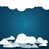 Vector paper clouds on a blue background Stock Image