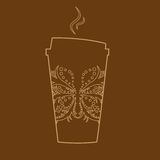 Vector paper coffee glass Royalty Free Stock Photos