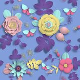 Paper craft 3D wild rose flowers, rosehip berries and butterfly seamless pattern. Vector illustration stock image. Vector paper craft 3D wild rose flowers royalty free illustration