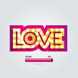 Vector paper curved convex inscription love Royalty Free Stock Images