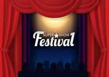 Vector paper cut festival show poster template. Festival super show poster banner template. Vector paper cut theater stage with red curtains, spotlight and Royalty Free Stock Image
