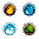 Vector paper cut four nature elements. Four nature symbols elements. Vector paper cut flame, water drop, sky with clouds and leaves in circle Royalty Free Stock Photo