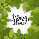Vector paper cut leaves. Summer tropical banner. With green palm leaves. Seasonal poster in trendy paper cut style. Design template for print or web Royalty Free Stock Photos