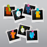 Vector Paper Cut People on Photo Frames. Stock Images