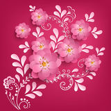 Vector paper cut sakura flowers with mehndi ornament on background. Floral volumetric composition. Stock Photo