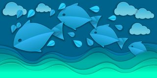 Vector paper cut sea and fishes Royalty Free Illustration