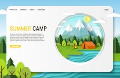 Vector paper cut summer camp landing page website template. Summer camp landing page website template. Vector paper cut illustration of campfire and tent near stock illustration
