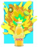 Vector paper cut tropical fruit juice drink. Tropical fruit juice drink. Vector paper cut poster, banner, flyer design template. Fruit juice glass bottle with Vector Illustration