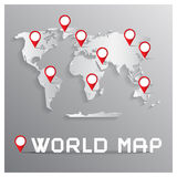 Vector Paper Cut World Map with Bent Corners Stock Photos