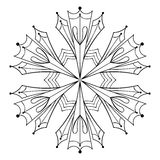 Vector paper cutout snow flake in zentangle style, doodle black. Mandala for adult coloring pages. Ornamental winter illustration for decoration. Christmas royalty free illustration