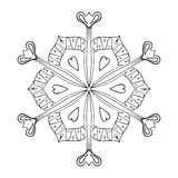 Vector paper cutout snow flake in zentangle style, doodle mandal Royalty Free Stock Photography