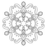 Vector paper cutout snow flake in zentangle style, mandala for a. Dult coloring pages. Ornamental freehand winter illustration for decoration. Christmas greeting stock illustration
