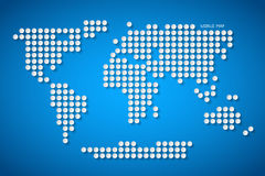 Vector Paper Dotted World Map Illustration. On Blue Background Stock Photo