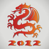 Vector paper dragon. Vector design of red paper dragon Stock Photo