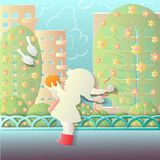 Vector paper effect , spring outdoors,girl with orange royalty free illustration