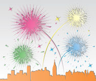 vector paper fireworks over a city Stock Photography