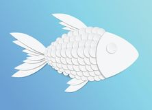 Vector paper fish. On blue background Royalty Free Stock Photo