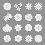 Vector paper flowers set. 3d origami abstract flower icons illustration Royalty Free Stock Images