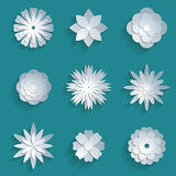 Vector paper flowers set. 3d origami icons Stock Images