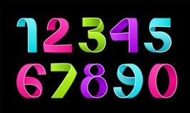 Vector of paper folding numbers. Color Ribbon script font. Vector of modern stylized paper font. Alphabet letters. 3d number set. Elements design. Celebration vector illustration