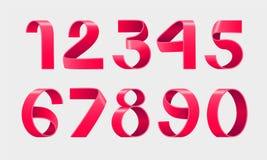 Vector of paper folding numbers. Red Ribbon script font. Vector of modern stylized paper font. Alphabet letters. 3d number set. Elements design. Celebration royalty free illustration
