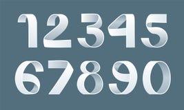 Vector of paper folding numbers. Ribbon script font. Vector of modern stylized paper font. Alphabet letters. 3d number set. Elements design. Logo stock illustration