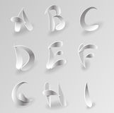 Vector Paper Graphic Alphabet Set 1. Vector White Paper Letter Graphic Alphabet Set Royalty Free Stock Image