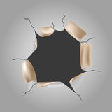 Vector paper hole. Vector gray torn paper exposed to something royalty free illustration