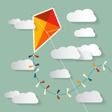 Vector Paper Kite on Sky. With Clouds Stock Photos