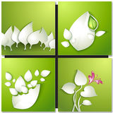 Vector paper leaves on green background Royalty Free Stock Photography