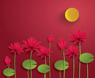 Vector Paper Lotus. Paper cut style royalty free illustration