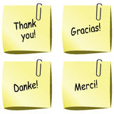 Vector paper notes with thank you words Royalty Free Stock Photos