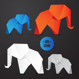 Vector paper origami elephant icon. Colorful origamy set. Paper design for your identity. Royalty Free Stock Photo