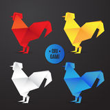Vector paper origami rooster icon. Colorful origamy set. Paper design for your identity. Royalty Free Stock Photos